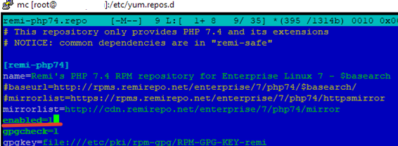 adding remi php74 repository on linux centos