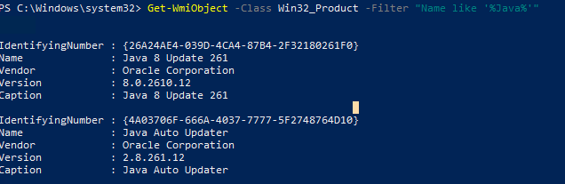 check installed java via Get-WmiObject -WMI Class Win32_Product