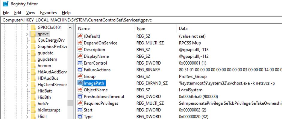 gpsvc service registry key