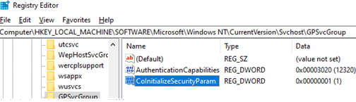 GPSvcGroup: AuthenticationCapabilities and CoInitializeSecurityParam parameters