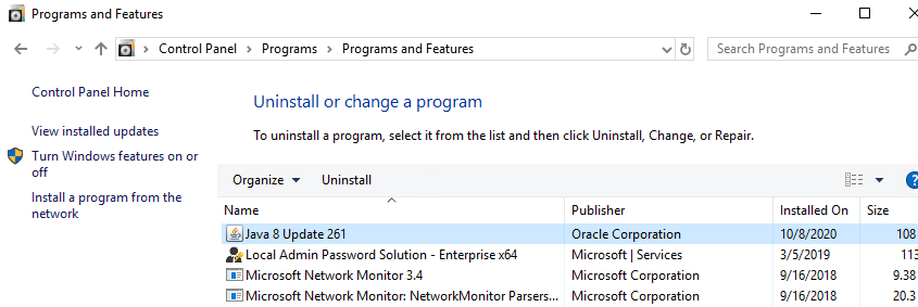 installed java in the list of programs on windows 10