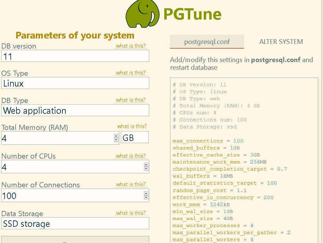 pgtune - generate postgresql.conf file for your task