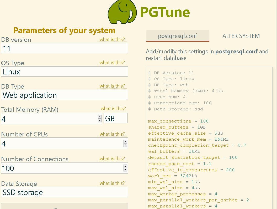 pgtune - generate postgresql.conf file for your task