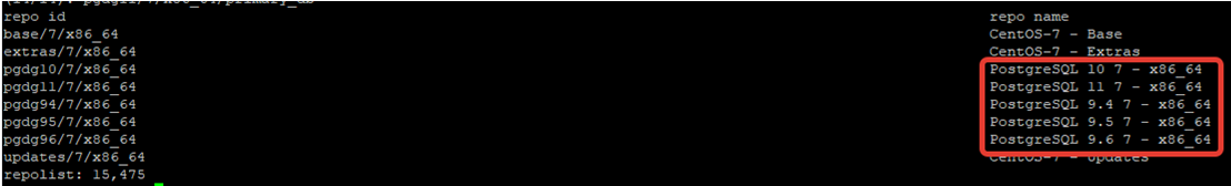 postgresql repositories info