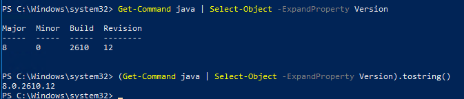 powershell check java version, build and revision