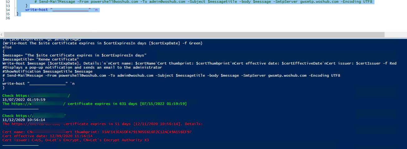 Powershell script: get SST/TLS certificate expiry for a remote website