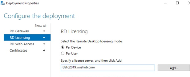 RDS - set RD licensing server and CAL mode