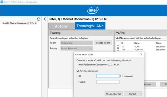 add a new VLAN on Windows using Intel PROSet Adapter Configuration Utility