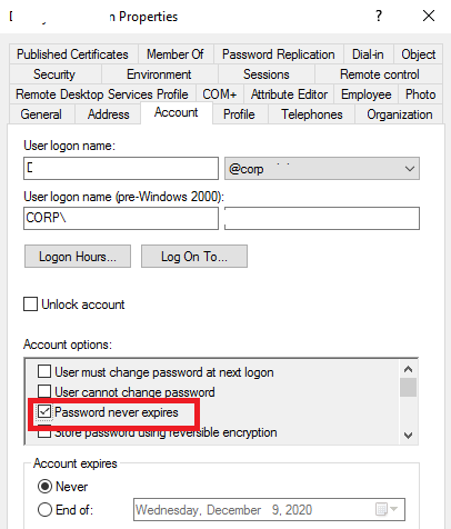 "ADUC: user's option ""Password never expires"""