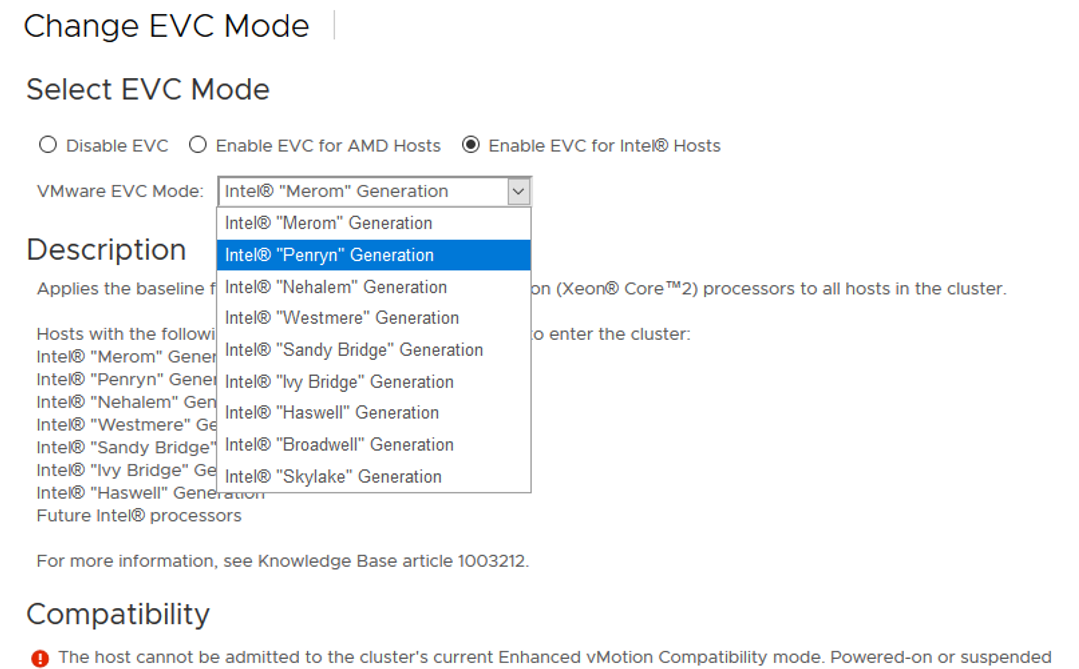 configure vmware evc mode - select CPU generation