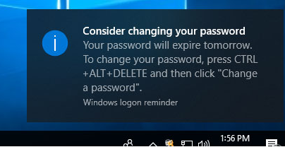 Consider changing your password notification in Windows 10