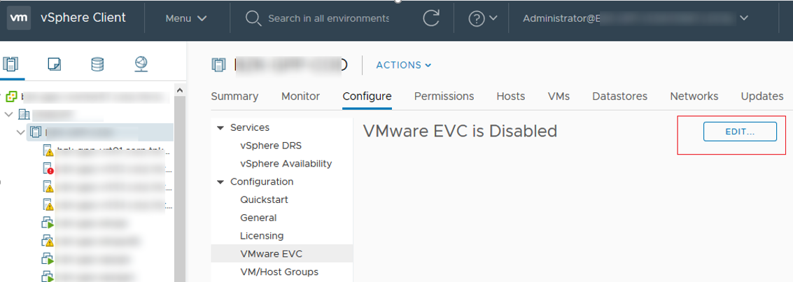enable VMWware EVC - Enhanced vMotion Compatibility