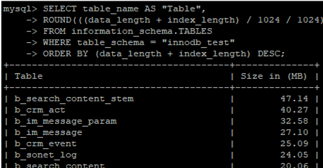 get free space in mysql tables