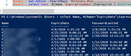 How to Get AD Users Password Expiration Date using powershell
