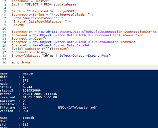 microsoft sql server connection from powershell using OleDb.OleDbConnection class