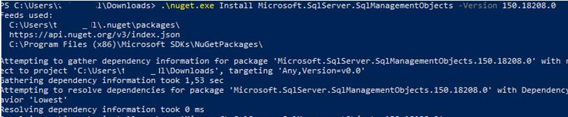 nnuget install Microsoft.SqlServer.SqlManagementObjects module