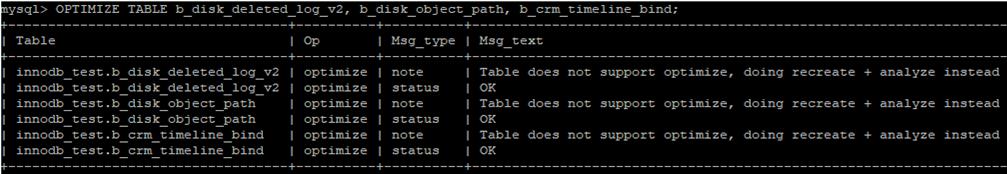 optimize and compress tables in mariadb / mysql