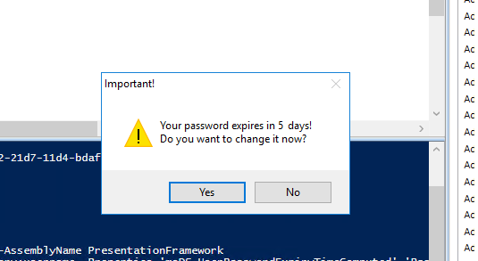 password expiration reminder using PowerShell