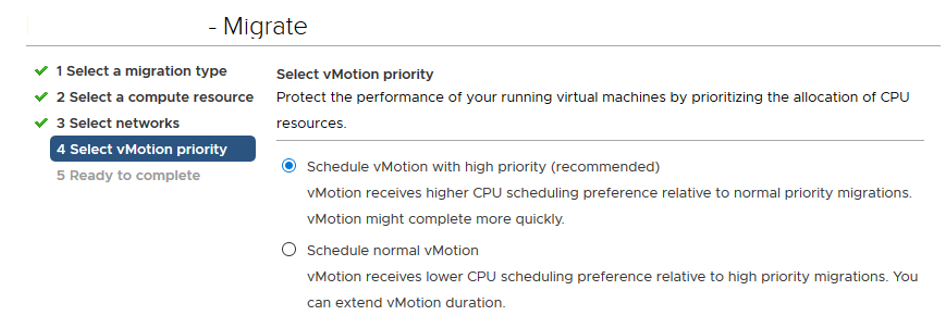 Schedule vMotion with high priority