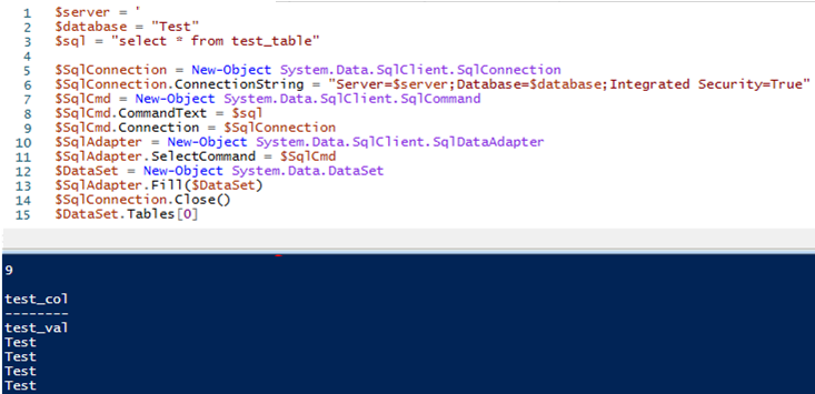 using SqlClient.SqlCommand class in powershell to run query against microsoft sql server database