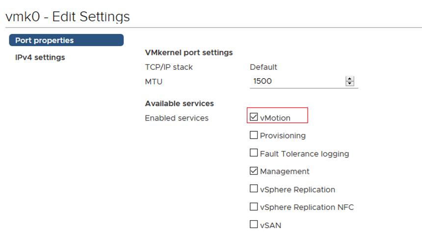 VMkernel - enavle vMotion service