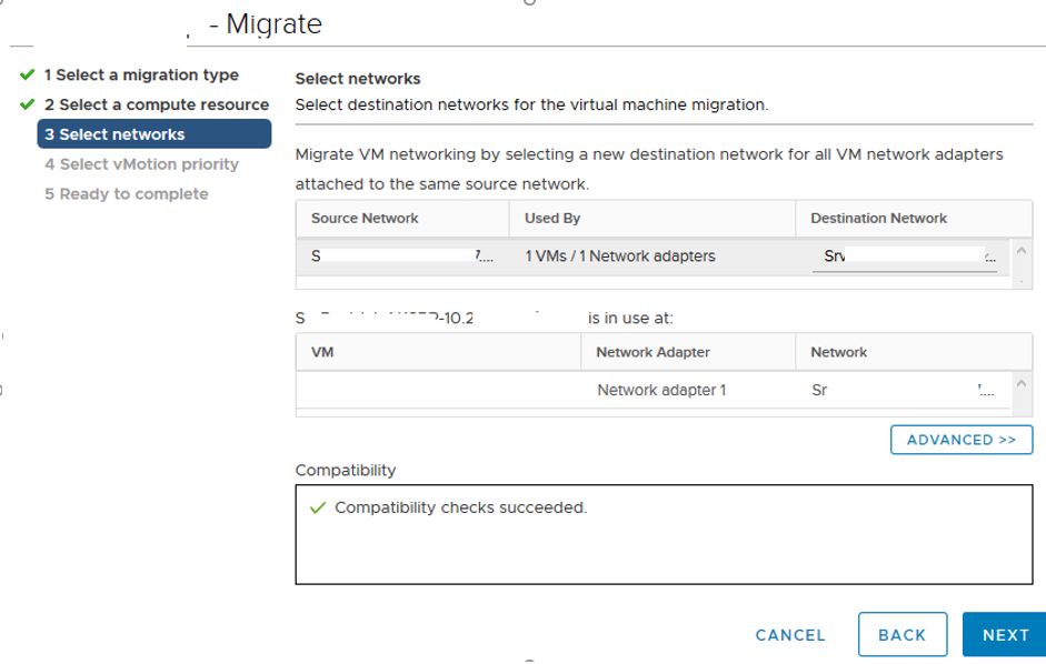 vmware vmotion - migrate network from source to destination