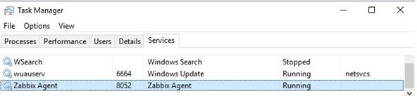 zabbixagent windows service