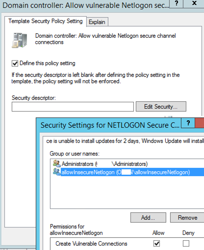Allow to create vulnerable connections to netlogon using GPO