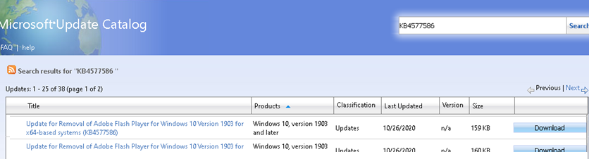 Download KB4577586 (Update for Removal of Adobe Flash Player) from Microsoft Update Catalog