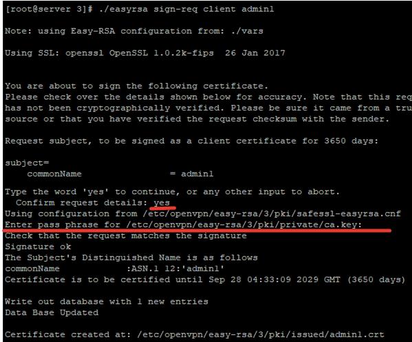 easyrsa generate client certificate