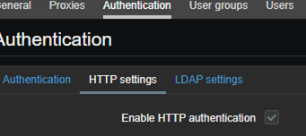 Enable HTTP authentication on Zabbix
