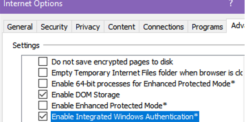 Enable Integrated Windows Authentication in Internet Explorer