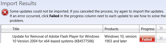 failed to import update KB4577586 to WSUS server