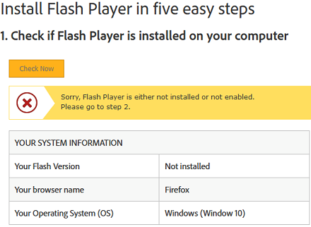 flash player is not installed on windows 10