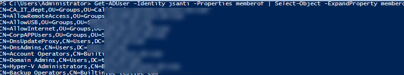 get all AD groups that a user is a member of via PowerShell