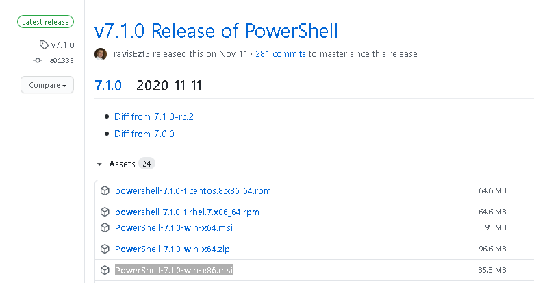 github - get latest powershell core release