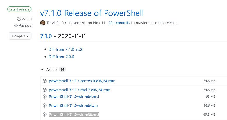 github - obtenha a última versão do núcleo do PowerShell