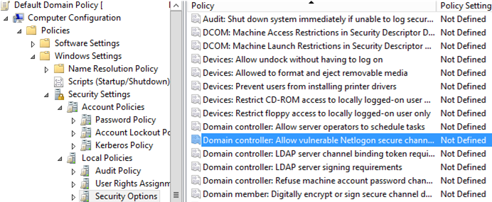 GPO: Domain controller: Allow vulnerable Netlogon secure channel connections
