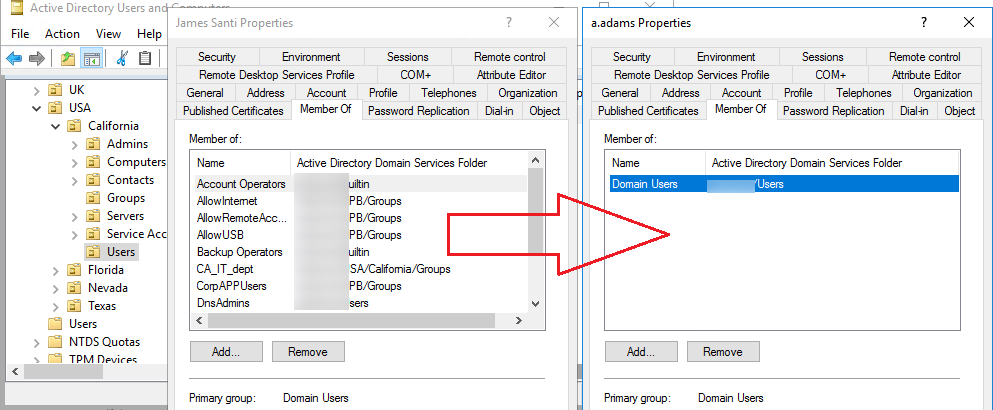 How to copy AD user group membership to another user