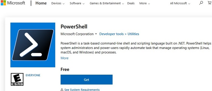 install powershell on windows via microsoft store