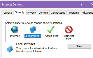 Local Intranet sites in IE
