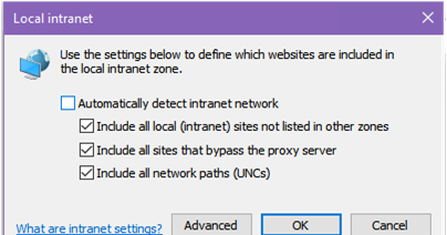 Local Intranet zone settings