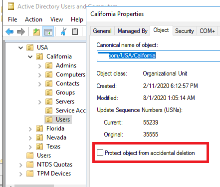 """Nested OU recovery in Active Directory when """"Protect object from accidental deletion"""" option is disavled"""