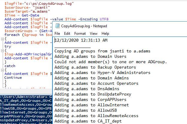 PowerShell script to copy Active Directory security groups to another user