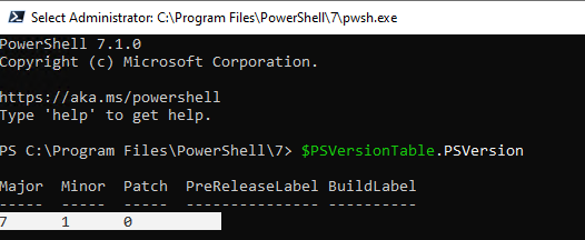 poweshell core 7.1 on windows 10