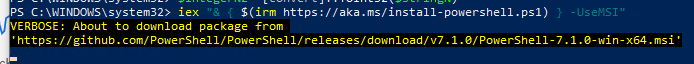update powershell core 7.1 from command line