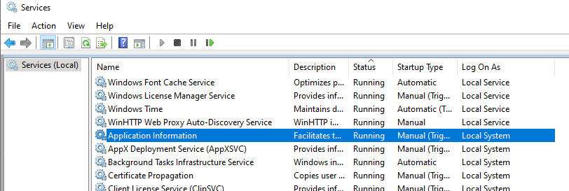 windows services running as localsystem