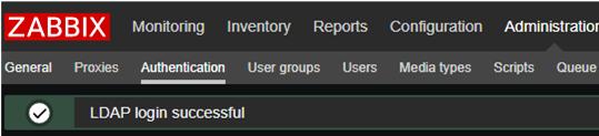 Zabbix: LDAP login successful