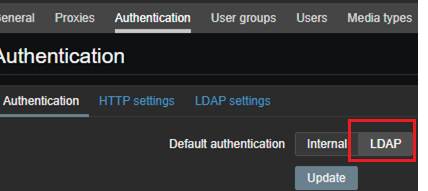 zabbix use LDAP authentication